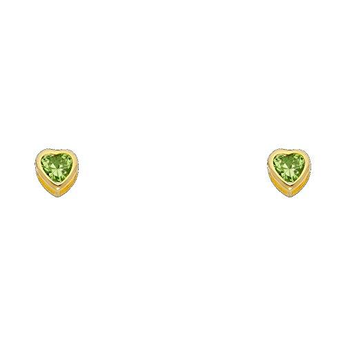 14k Yellow Gold 5mm Heart Bezel Set Stud Earrings with Screw Back