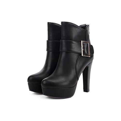 BalaMasa Womens Metal Buckles High-Heels Ankle-High Urethane Boots ABL10497 Black WLjbkAE2Fv