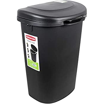 Rubbermaid Touch Top Lid Trash Can for Home, Kitchen, and Bathroom Garbage, 13 Gallon, Black