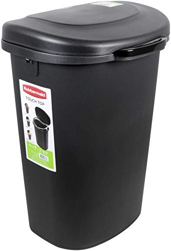 Rubbermaid 1843024 Touch-Top Lid Trash Can for Home, Kitchen, and Bathroom Garbage, 13 Gallon, Black, 13-gallon,