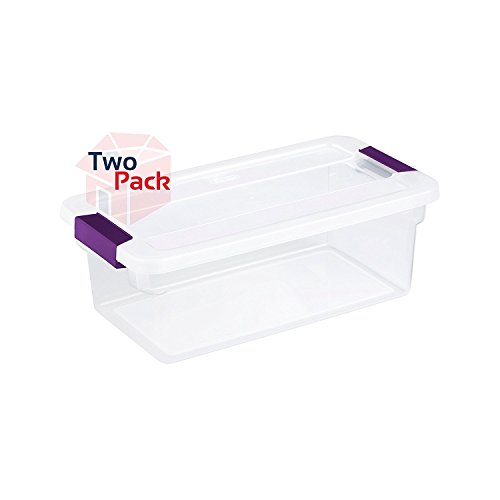 Sterilite 17511712 6-Quart ClearView Latch Box, with Plum Handles, 2-Pack (Box Sterilite Qt 6 Storage)