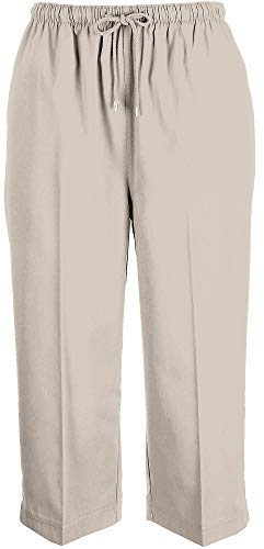 Coral Bay Womens Drawstring Twill Capris Large Oxford tan