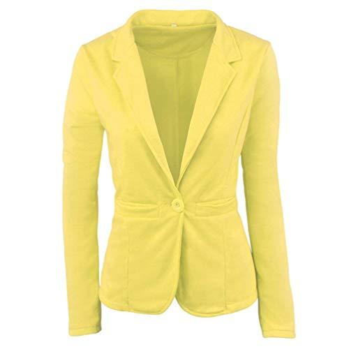 Ovest Cappotto Chic Manica Alta Fit Corto Business Coat Giacca Gelb Autunno Slim Qualità Ragazza Colore Puro Tailleur Di Da Bavero Donna Button Lunga 0IqdwI