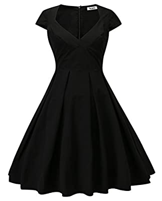 Dilanni Women's Retro Deep-V Neck Half Sleeve Vintage Cocktail Swing Dress Party Dress