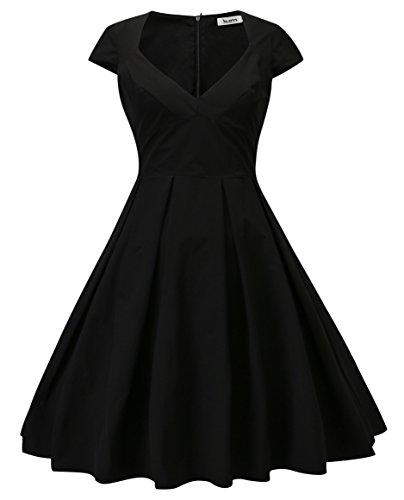 Dilanni Women's 1950s Retro Vintage Cap Sleeve Party Swing Dress (XS (0-2), Black)