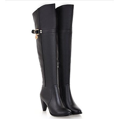 Knee The Shoes Fall Boots US8 Cowhide Winter UK6 Black Brown CN39 Over Women'S For EU39 Boots Fashion Casual RTRY Boots Fpzqvv