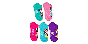 Disney Minnie Mouse Days of The Week Girls Colored 5 pk No Show Socks
