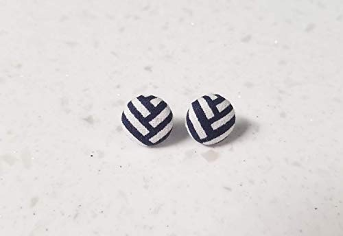 (Navy and white chevron fabric button earrings)
