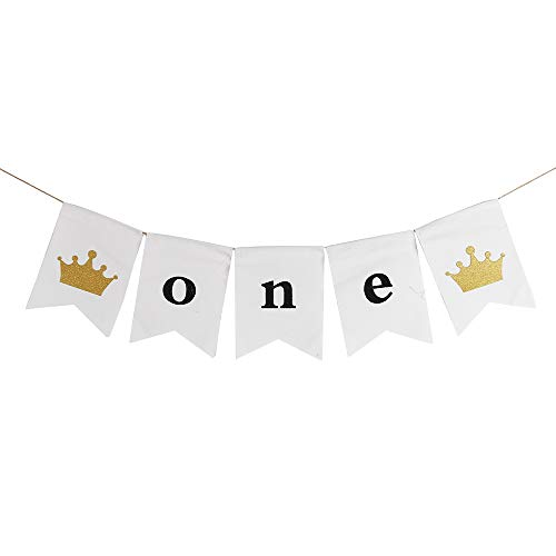 QIYNAO Handmade White One Banner - First Baby Birthday Decorations Burlap Highchair Banner,Baby Shower, High Chair Decoration, Wall Decor