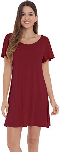 NEIWAI Womens Sleep Dress Short Sleeve Sleepwear Bamboo Night Shirts Wine Red XL