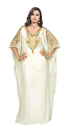 KoC Women's Kaftan Maxi Dress Farasha Caftan KFTN117-Ivory for sale  Delivered anywhere in USA