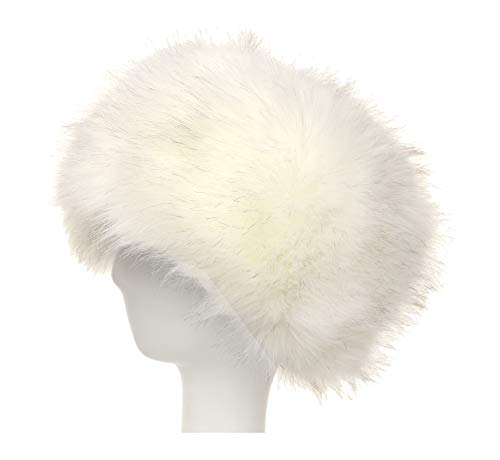 La Carrie Women's Faux Fur Hat for Winter with Stretch Cossack Russion Style White Warm Cap(White) -