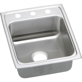 Elkay LRAD1522552 2-Hole Gourmet Lustertone Stainless Steel 15-Inch x 22-Inch Self-Rimming Single Basin Kitchen Sink (Elkay Lustertone Bar Sinks)
