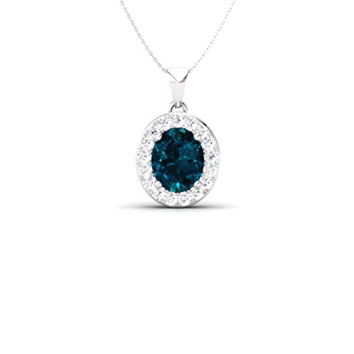 Diamondere Natural and Certified Oval Cut London Blue Topaz and Diamond Petite Necklace in 14k White Gold | 0.51 Carat Pendant with Chain ()