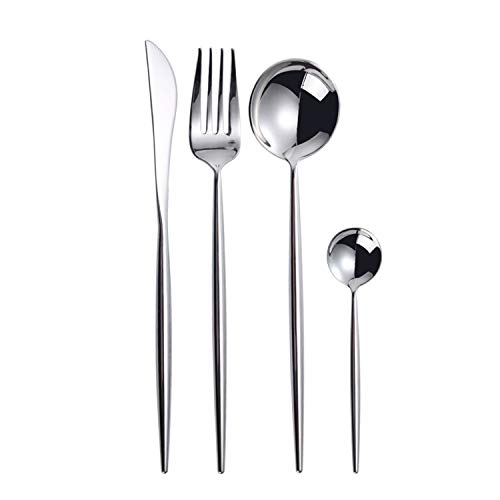 TaNaT 8 Piece Flatware Set Silverware Cutlery Sets Serving Utensils Set Service for 2 ,304 Stainless Steel Dinnerware Set with Table Knife Dinner Fork and Spoons,Dishwasher Safe