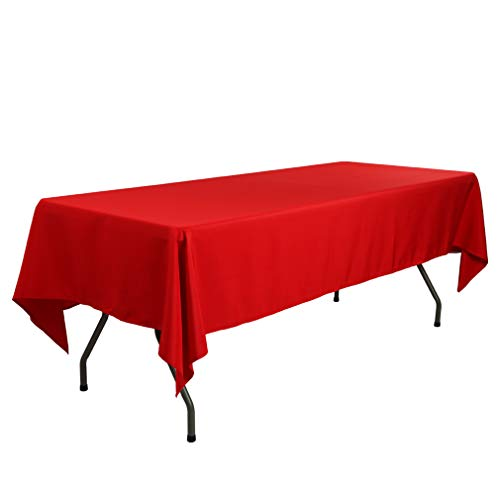 Waysle 60 x 102-Inch Rectangular Tablecloth, 100% Polyester Washable Table Cloth for 6Ft. Rectangle Table, Red]()