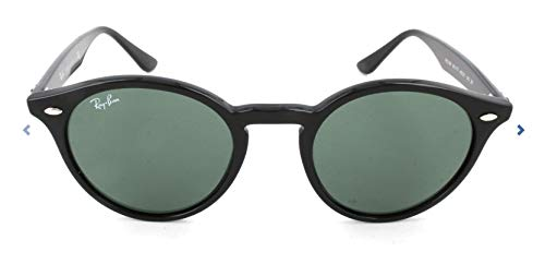 Ray-Ban RB2180 Round Sunglasses, Black/Green, 49 ()