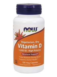 NOW Foods - Vitamin D Vegetarian Dry 1000 IU - 120 Vegetarian Capsules
