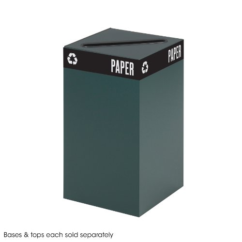 Safco Products 2981GN Public Square Recycling Trash Can Base, 25-Gallon (Top sold separately), Green