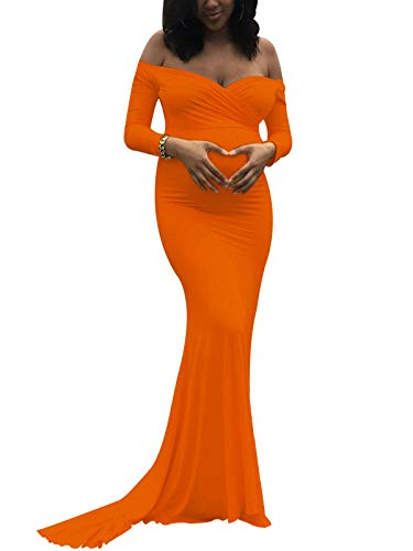 Saslax Maternity Elegant Fitted Maternity Gown Long Sleeve Slim Fit Maxi Photography Dress Sweetheart Orange XL
