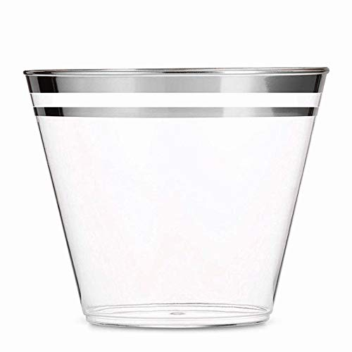 100 Silver Double-Rimmed 9 Oz Clear Plastic Tumblers Fancy Disposable Wine Cups Perfect for Holiday Party, Wedding, and Everyday Occasions