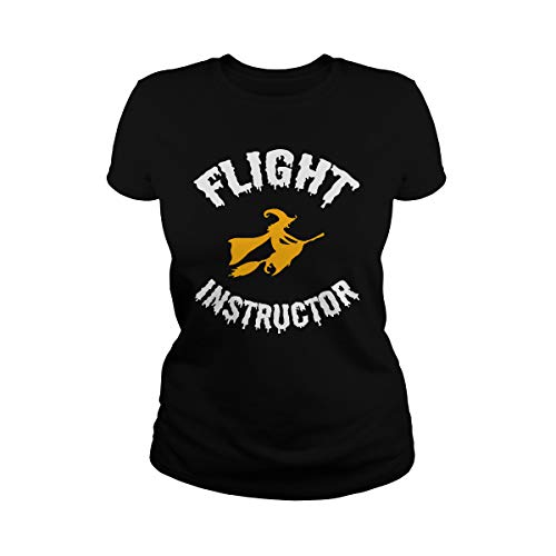 Zinko Women's Flight Instructor Broomstick Witch Halloween Costume T-Shirt (L, Black)]()