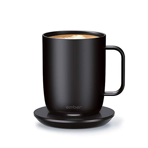 NEW Ember Temperature Control Smart Mug 2, 14 oz, Black, 80 min. Battery Life - App Controlled Heated Coffee Mug - Improved Design