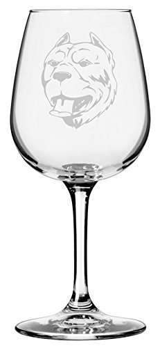 American Pit Bull Terrier (APBT) Dog Themed Etched 12.75oz Libbey Wine Glass