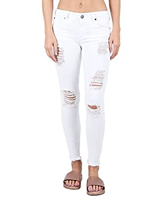 STS Blue Emma Skinny Ankle Jeans with Raw Frayed Hem, Optic White, 28
