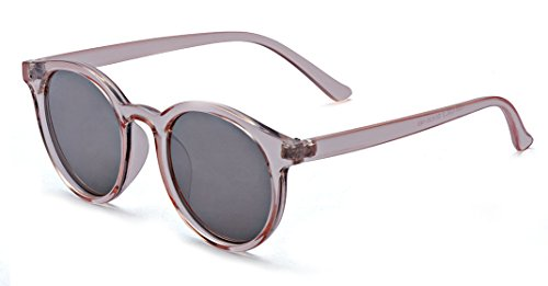 Kelens Retro Unisex Round Sunglasses Horn Rimmed UV400 Protection Pink