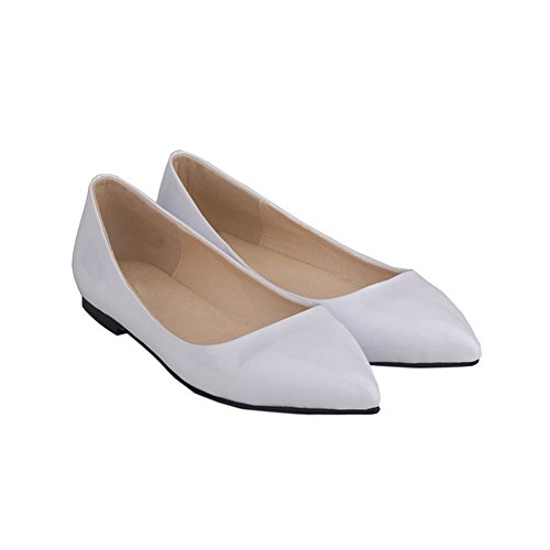Haodasi Womens Shallow Mouth Pointed Leather Pumps Shoes Candy Color Flat Shoes a7yca3umr