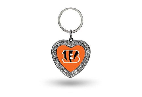 Cincinnati Bengals Heart - Rico NFL Cincinnati Bengals Rhinestone Heart Keychain