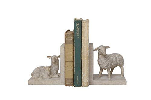 Creative Co-Op Resin Sheep Shaped Bookends (Set of 2 Pieces)
