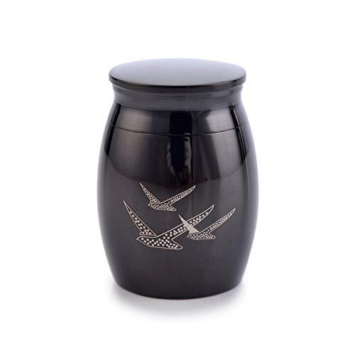 (Sunling Peaceful Birds Engraved Small Stainless Steel Decorative Memorial Keepsake Cremation Urns Jar for Human Pet Ashes Funeral Bottle Holder for Grandma,Grandpa,Black,Waterproof)