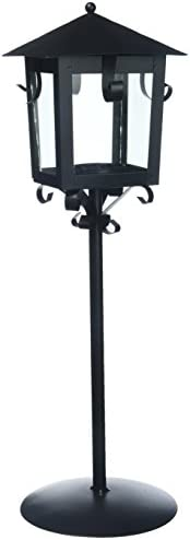 Darice Lamp Post Style Black Metal Tea Light, 5.31 x 4.92 x 14.37 inches Lantern