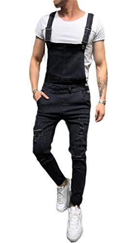 [해외]omniscient Men`s Vintage Slim Fit Casual Ripped Denim Overalls Bib Pants Jumpsuit / omniscient Men`s Vintage Slim Fit Casual Ripped Denim Overalls Bib Pants Jumpsuit 2 XXS