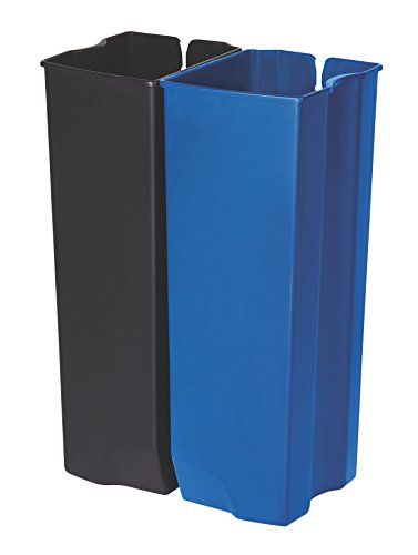 Rubbermaid Commercial Slim Jim End Step-On Trash Dual Rigid Liner Set, Plastic, 13 Gallon, Black/Blue