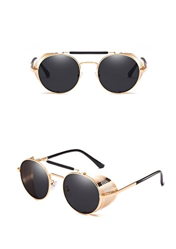 Nuni Metal Frame Fold-in Mesh Side Shield Oval Sunglasses (gold, ()