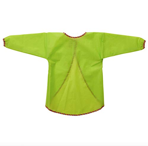 IKEA MALA Apron with Long Sleeves, Green. Eating Playing Painting Craft Activities Smock Water Resistant Breathable PEVA; a Chlorine-Free Plastic Material, Alternative to PVC (2 Count)