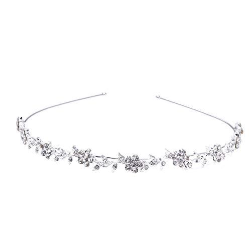 Lurrose Elegance Rhinestones Plum Blossom Leaves Headband Minimalist Silver Bridal Headpiece
