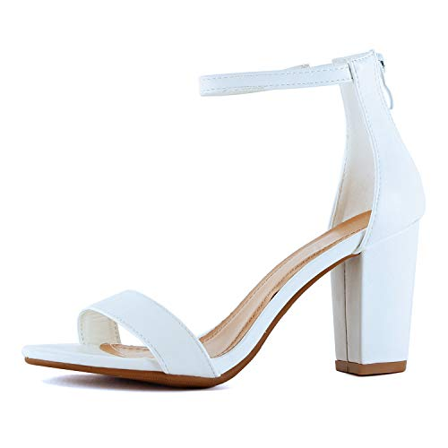 Womens Ankle Strap Chunky Block High Heel Zipper Closure - Party Dress Open Toe Sandals (7.5 M US, White Pu)