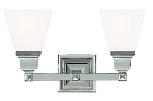Polished Nickel Two Vanity Light - Livex Lighting 1032-35 Mission 2-Light Bath Light, Polished Nickel