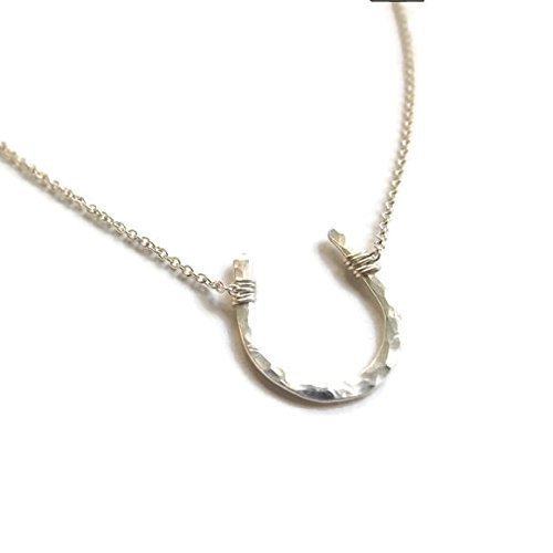 lucky hammered horseshoe necklace 16-20 925 Sterling Silver, 14k yellow or rose gold filled