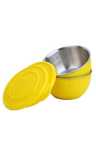 Homeish Metallo Microwave Safe Stainless Steel Plastic Coated Bowls with Lid  Yellow  Set of 2 17cms