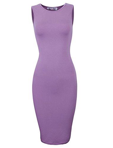 Tom's Ware Women's Classic Slim Fit Sleeveless Midi Dress TWCWD051-PURPLE-US M/L(Tag Size - Purple Tom