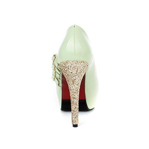 AgooLar Women's Spikes Stilettos Solid Pull On Peep Toe Sandals Green 05Rto5H