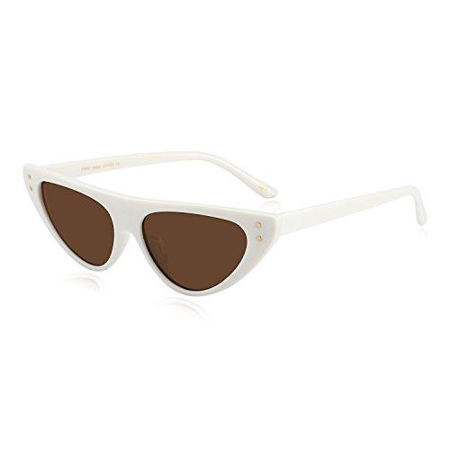 WOWSUN Retro Classic Cool Cat Eye Shield Sunglasses for Women Unique Trendy Style - Sunglasses Slim Eye Cat Retro