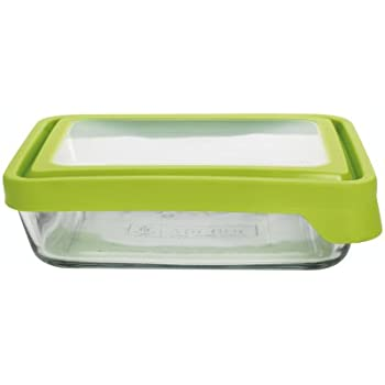 Anchor Hocking 6-Cup Rectangular Food Storage Containers with Green TrueSeal Lids, Set of 4, Clear Glass - 91692