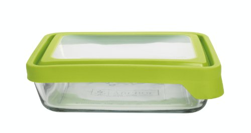 Anchor Hocking 6-Cup Rectangular Food Storage Containers with Green TrueSeal Lids, Set of 4