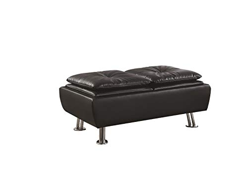 (Coaster Home Furnishings 6382003 Rafael Faux Leather Storage Ottoman with Reversible Tray Tops Black,)